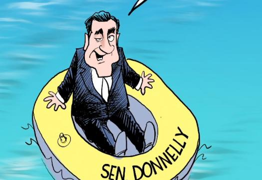 In this time lapse video Gary Varvel illustrates his method of painting political sharks in water as Sen. Donnelly safely floats in his rubber raft.