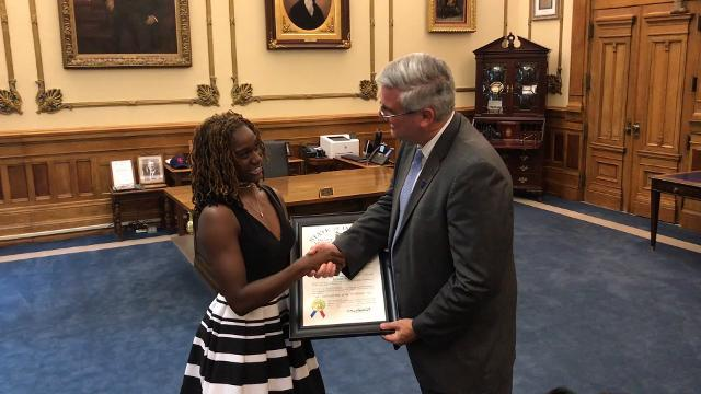 Pike's Lynna Irby receives Sagamore of the Wabash