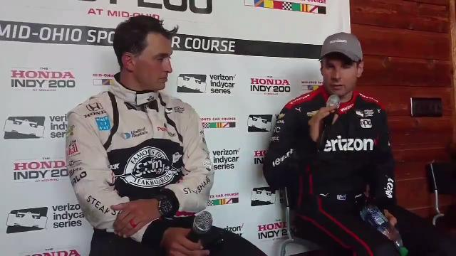 Graham Rahal and Will Power discuss the IndyCar race at Mid-Ohio