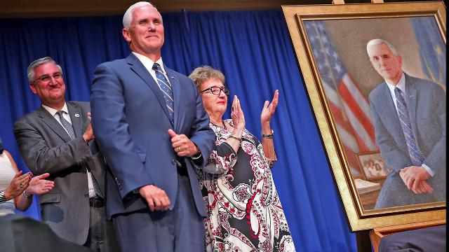 Vice President Mike Pence talks about the symbolism of his gubernatorial portrait that was unveiled at the Statehouse Friday, Aug. 11, 2017.
