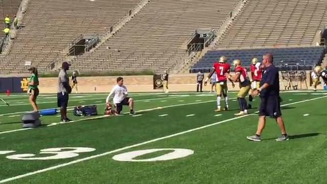 See what Brian Kelly watches during practice