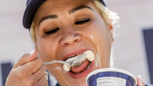 Competitive eater Miki Sudo sets a world record for eating the most pints of ice cream during the first-ever World Ice Cream Eating Championship at the Indiana State Fair in Indianapolis on Sunday, August 13, 2017.