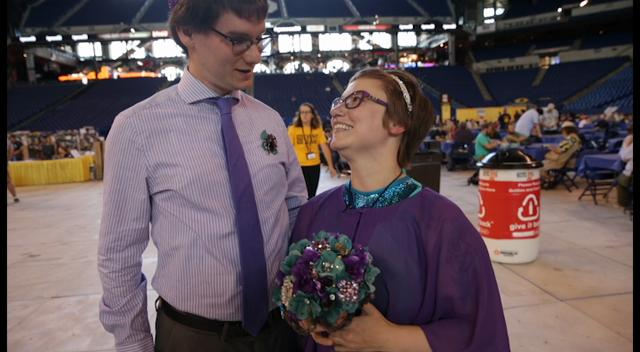 Couples renew wedding vows in a public ceremony at Lucas Oil Stadium, Indianapolis, on the first day of Gen Con, Thursday, August 17, 2017.