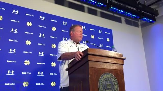 Football coach Brian Kelly gives his impression of Notre Dame fall scrimmage