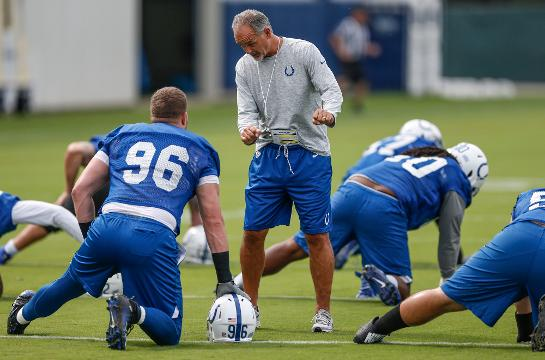 Indianapolis Colts head coach Chuck Pagano talks eclipse, quarterback reps and defensive concerns.