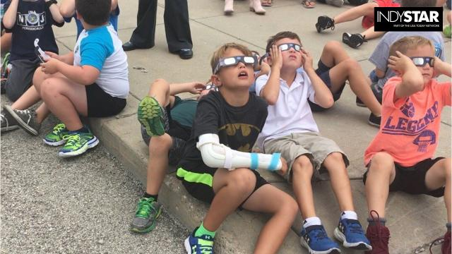 Students in grades 2-4 at Maple Glen Elementary in Westfield went outside to experience the 2017 solar eclipse.