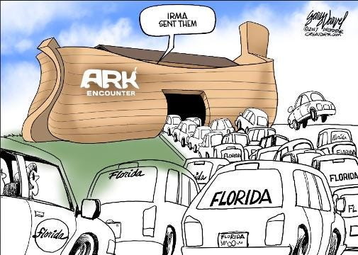 This 96-second time lapse video shows Gary Varvel's method of drawing an evacuation traffic jam caused by Hurricane Irma.