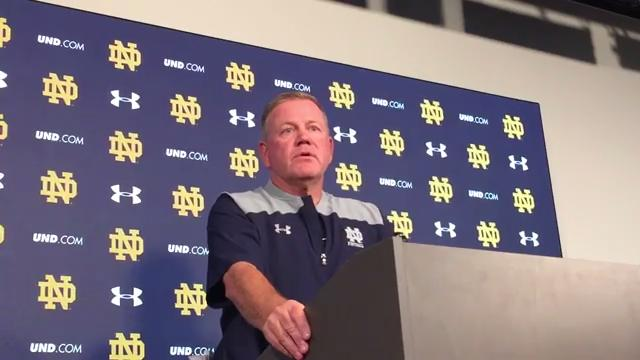 Brian Kelly addresses if Notre Dame would show solidarity during national anthem