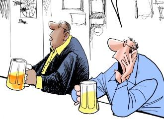 This time lapse video shows how Gary Varvel draws football fans in a bar.