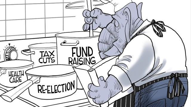 This time lapse video shows how Gary Varvel draws what is on the back burner for the Republicans.