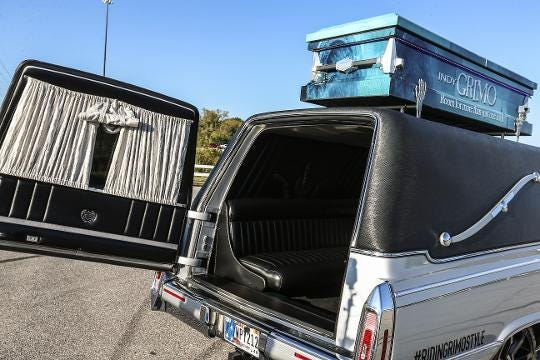 Jose Garcia, owner of Indy Grimo limousine service, talks about his love for Halloween and why the company chose to use hearses. Grimo offers year-round rides in a '92 Cadillac hearse, a stretched Ford Explorer family coach hearse and a party bus.