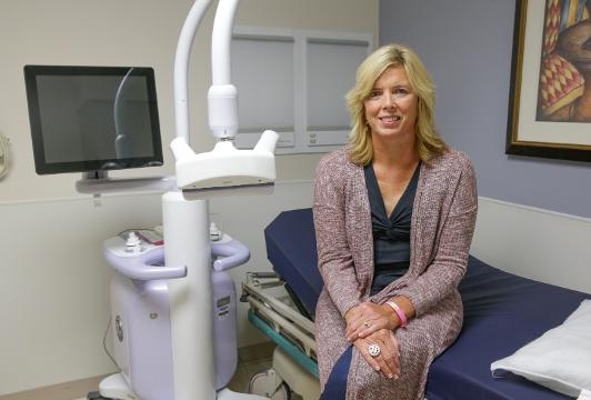 Breast cancer survivor Carrie Cagnassola helped persuade Indiana lawmakers to pass a law mandating women with dense breast tissue be notified, on Thursday, Oct. 19, 2017.