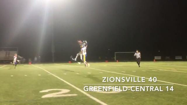Friday Night Highlights: Zionsville 40, Greenfield-Central 14