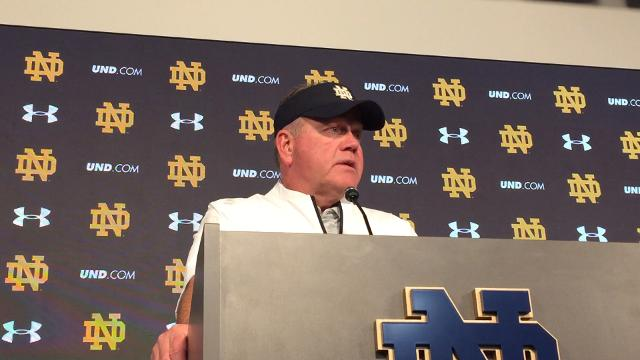 Notre Dame football coach Brian Kelly's postgame news conference following the Fighting Irish's blowout win over the 10th-ranked Trojans.