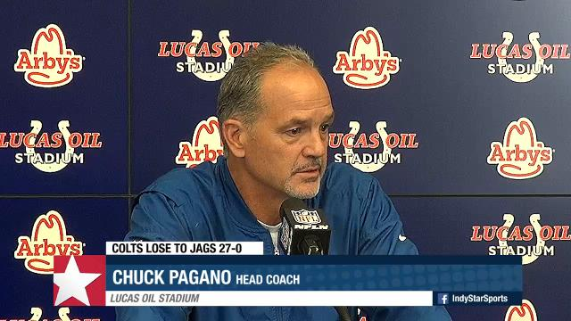 Indianapolis Colts' coach Chuck Pagano addresses the media following the 27-0 loss to the Jacksonville Jaguars.