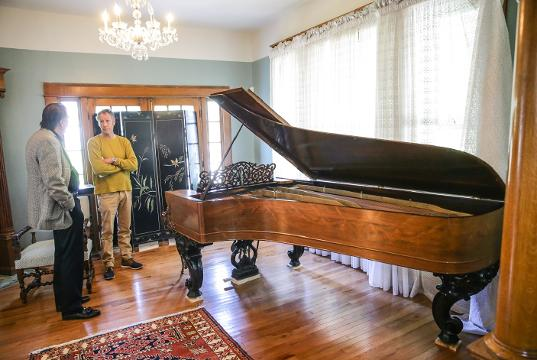 The historic Alford House once owned by a Judge Fremont Alford was once used as a funeral home, but is now beginning a second life as a shared workspace by day and event center by night, Monday, Oct. 16, 2017.