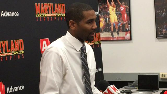 Butler coach LaVall Jordan speaks with the media after Butler's loss to Maryland on Wednesday.