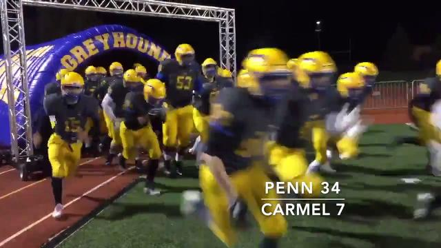 Penn knocked off Carmel, 34-7, to reach the IHSAA final at Lucas Oil Stadium.