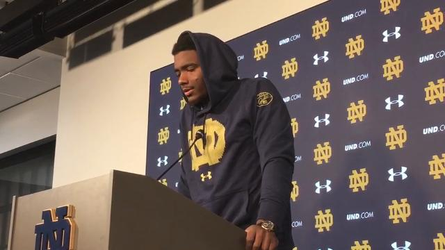 Notre Dame starting QB Brandon Wimbush talks to the media following the Fighting Irish's win over Navy on Saturday.