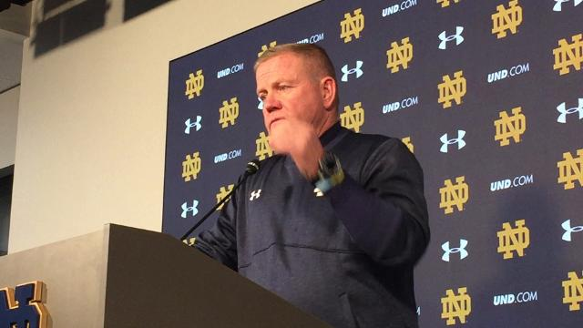 Brian Kelly talks to media after Notre Dame beats Navy