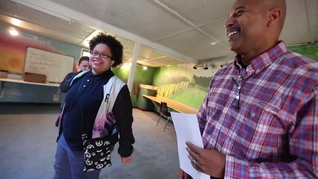 Members of the Colts and IMPD visited the Peace Learning Center and IPS #34 kids doing team-building sessions designed to teach safe and simple ways to manage anger, solve problems and develop an understanding of differing perspectives.