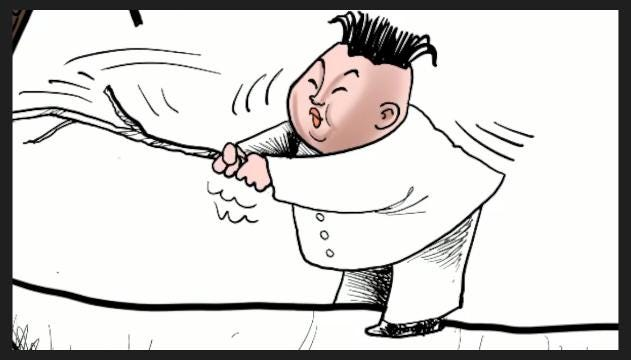 This time lapse video shows Gary Varvel's technique in drawing the conflict between North Korean leader Kim Jong Un and America.