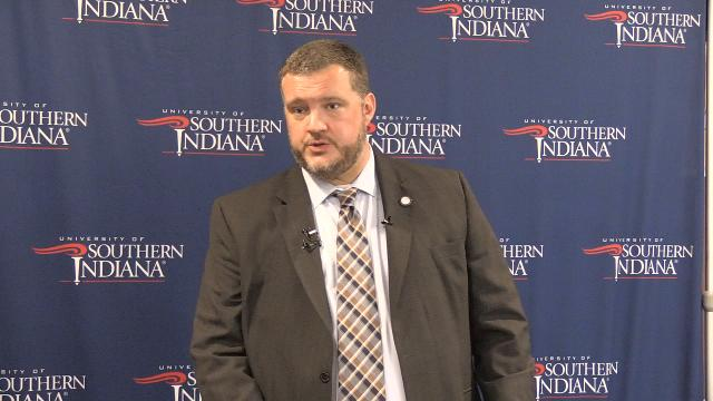 USI Dean of Students Bryan Rush held a press conference one day after the university withdrew recognition of the Indiana Lambda chapter of Phi Delta Theta.