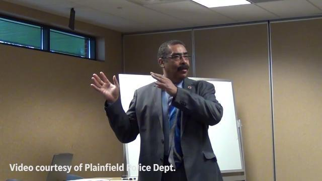 """During police training on transgender sensitivity Plainfield Capt. Carri Weber (heard but not shown in the video) told a colleague his law enforcement experience was shaped by """"white male privilege."""""""