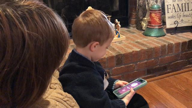 Owen Doyle calls Santa using an iOS app.