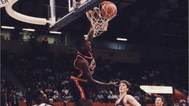 Tyrone Tate, Stephen Jackson, Stan Gouard, Chris Bowles and John Hollinden comprise a (hypothetical) starting lineup of the University of Southern Indiana's best me'ns basketball players ever.