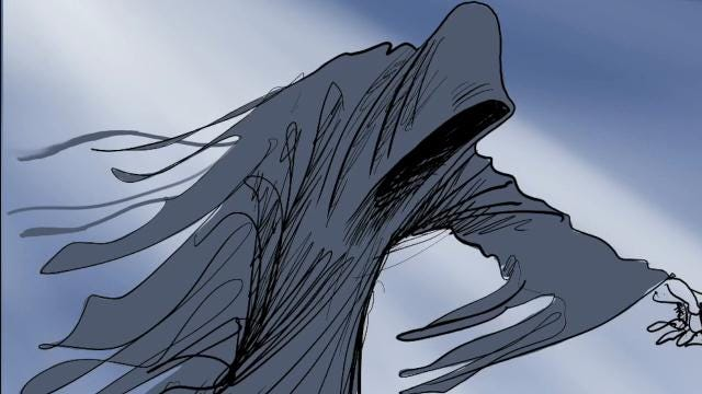 This time lapse video shows Gary Varvel's process in drawing the ghost of Christmas future.