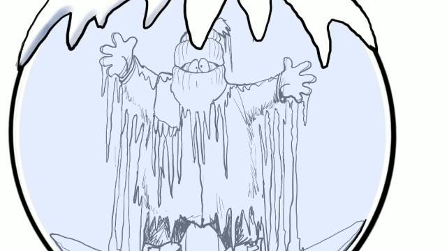 Gary Varvel demonstrates how to draw a frozen snow globe in this time lapse video.