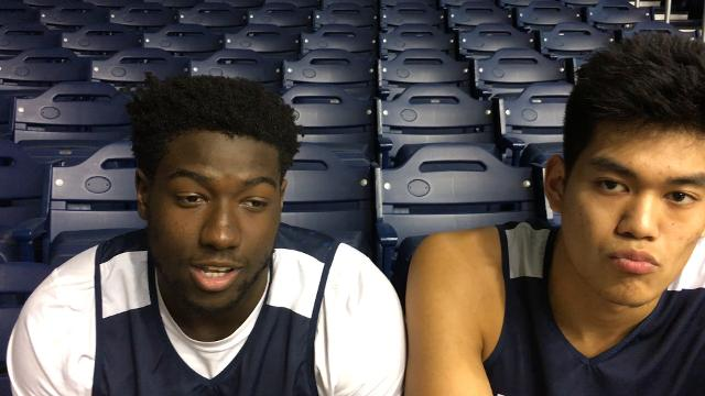 Bulldogs freshmen Gerald Gillens-Butler (left) and Christian David discuss how they are adjusting to Big East play.