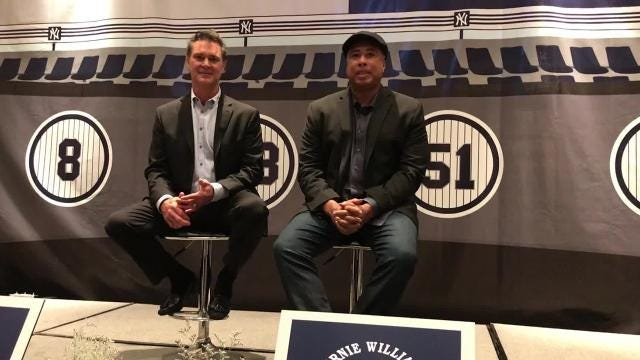 Don Mattingly (left) and Bernie Williams met the media before a charity event Tuesday at Tropicana