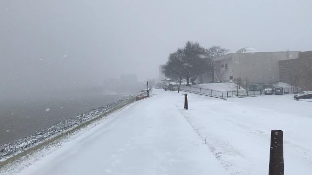 Wind and snow blew into Evansville Friday afternoon.
