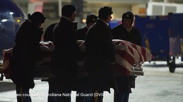 Maj. Gen. Courtney Carr, Adjutant General for the Indiana National Guard, speaks about late Sgt. 1st Class Mark Boner, Fort Wayne, who died after arriving for training at Fort Hood in Texas. He was a member of Kokomo-based 38th Sustainment Brigade.