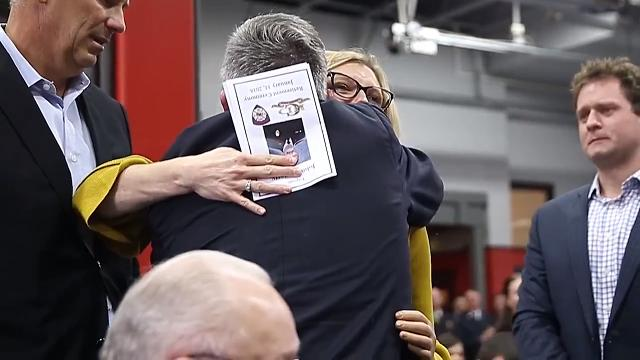 Erin Bower Patterson, who lost her left arm and right eye at age 5 after a bomb went off in her hand at the Castleton Kmart, meets Carmel firefighter John Moriarty, who helped save her life, for the first time since that day.