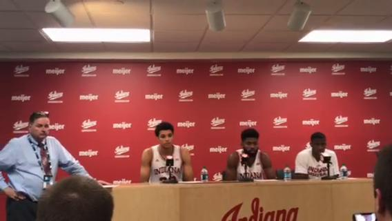 IU players Clifton Moore, Robert Johnson, and Josh Newkirk meet with the media to discuss the Hoosiers' win over Northwestern.