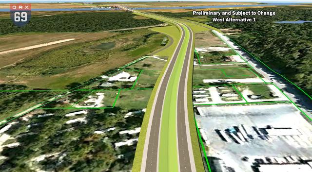 The I-69 ORX team released fly-over videos of the preliminary alternatives for a new I-69 Ohio River Crossing Tuesday morning.