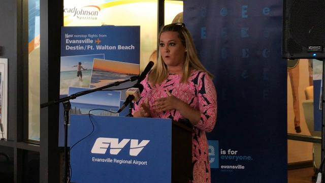 Courtney Goff with Allegiant Airlines spoke at Evansville Regional Airport Tuesday morning. Allegiant will offer direct flights from Evansville to Destin, Floriday starting in June.