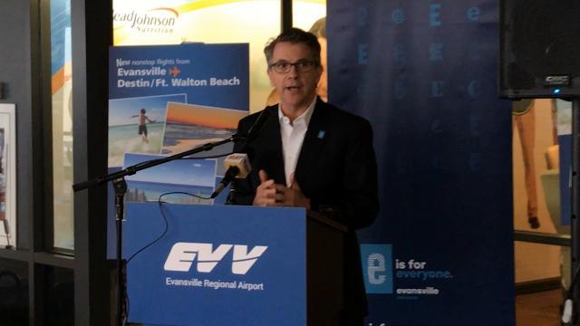 Mayor Winnecke spoke at Evansville Regional Airport Tuesday morning. Allegiant Air will begin direct flights from Evansville to Destin, Floriday in June.