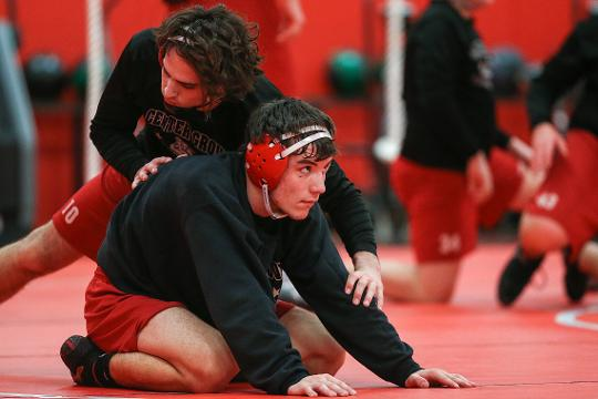 Center Grove senior wrestler Gleason Mappes is the youngest of four brothers who have all wrestled for the Trojans. He competes in IHSAA state wrestling finals February 16 and 17, 2018 at Banker's Life Fieldhouse in Indianapolis.