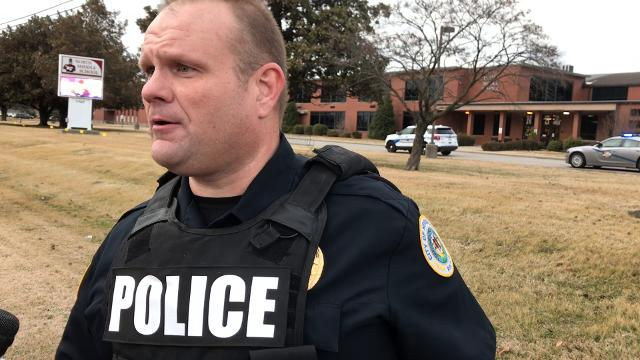 Jason Hargitt, acting chief of police for the Henderson Police Department, gives and update on the lockdown situation at North Middle School in Henderson on Thursday February 16, 2018.