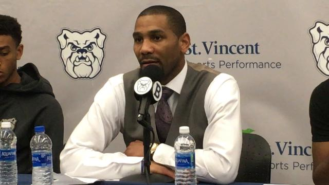 Butler basketball coach LaVall Jordan talks to media following Saturday's win over Providence.