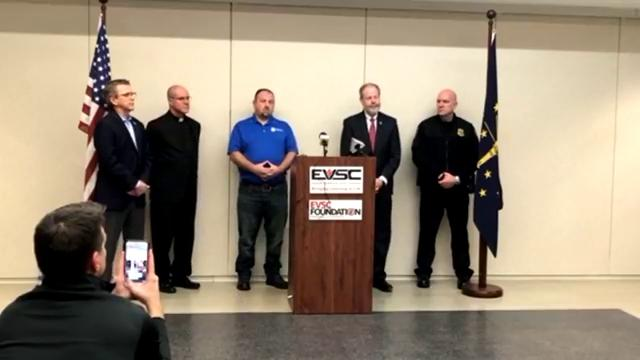 The Evansville Police Department, EVSC and Mayor Lloyd Winnecke hold a joint press conference to address recent school threats.