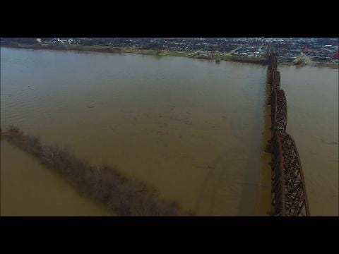 Frank Knight captured drone footage of Ohio River flooding at Henderson, Kentucky. Feb. 26, 2018.