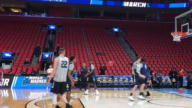 Butler Bulldogs get the feel for the baskets before they play Arkansas in the NCAA tournament.