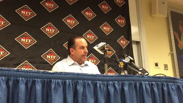 Fighting Irish coach Mike Brey speaks to the media following Notre Dame's loss Saturday to the Nittany Lions.