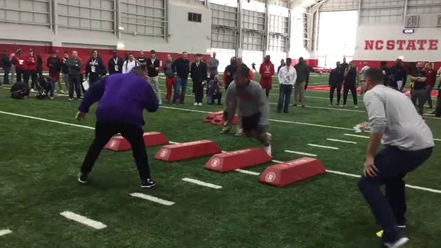 Bradley Chubb of North Carolina State works out for pro scouts. The Indianapolis Colts currently own the No. 6 overall pick.