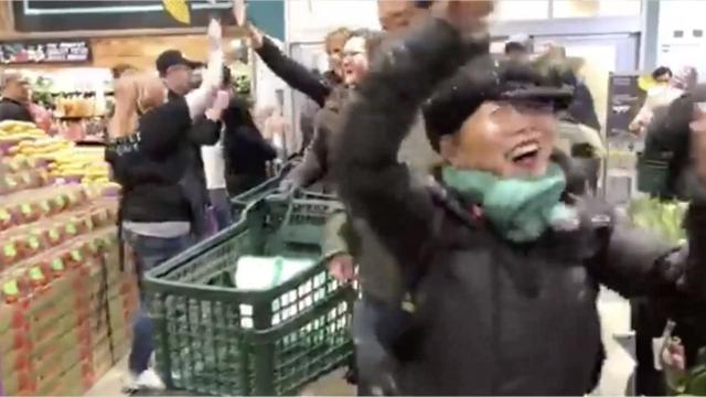 Dinh Steenberg was arguably the most excited person to be at the new Downtown Indianapolis Whole Foods when it opened to the public Wednesday.